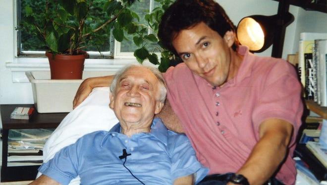 Mitch Albom with Morrie Schwartz, his professor from Brandeis University in Massachusetts. After graduation in 1979 they lost touch, to be reunited as Schwartz was dying.