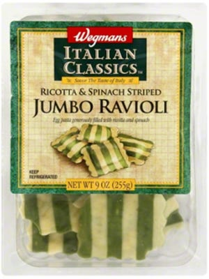 Customers reported finding white plastic pieces in a package of Wegmans Italian Classics Ricotta & Spinach Striped Jumbo Ravioli.