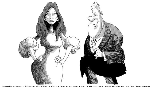 Political cartoon, Bill Clinton and Melania Trump.