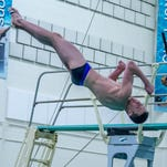 Lakeview's Austin Nemire dives during the SMAC Championship Finals at Western Michigan University