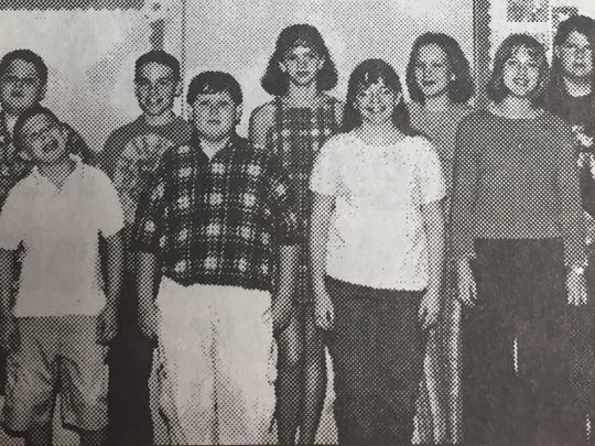 The seventh grade top Accelerated Readers were, front from left, Jacob Bennett, Travis Brantley, Laura Minor, and Sarah Howell. Back, Lee Adamson, Michael Ruhm, Haley Siler, Lauren Davis, and Angela Buchanan.