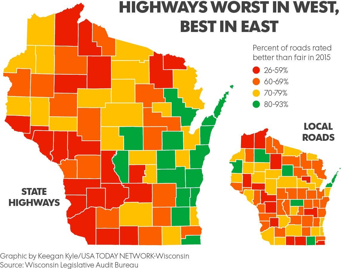 Maps Wisconsins worst best highways