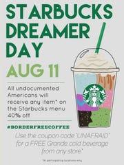 """The debunked flyer, titled """"Starbucks Dreamer Day,"""""""