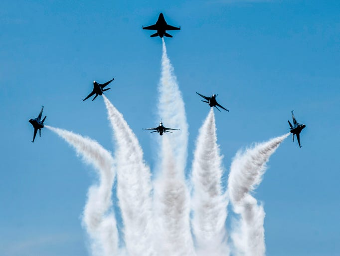The U.S. Air Force Thunderbirds perform at the Maxwell