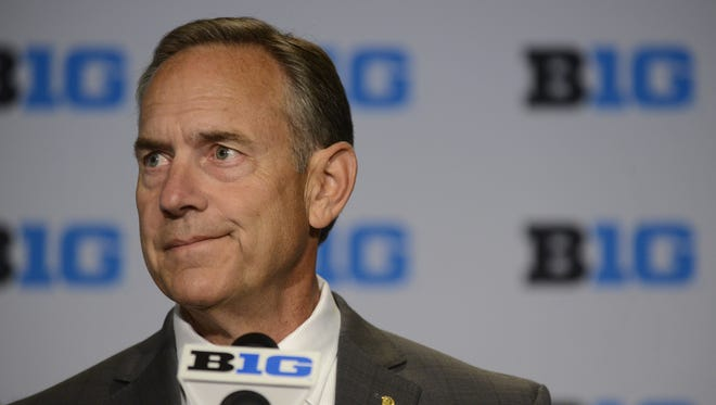 Michigan State football coach Mark Dantonio speaks to the media on Thursday, July 30, 2015, in Chicago.