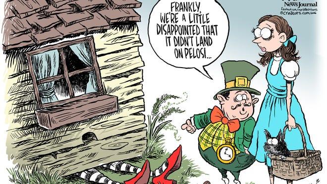 Nancy Pelosi survives commentary by Gannett cartoonist Andy Marlette.