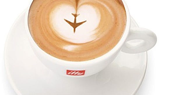An airline-themed photo of illy coffee was included