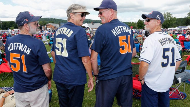 Fans show support for Hall of Fame closer Trevor Hoffman on Sunday in Cooperstown.