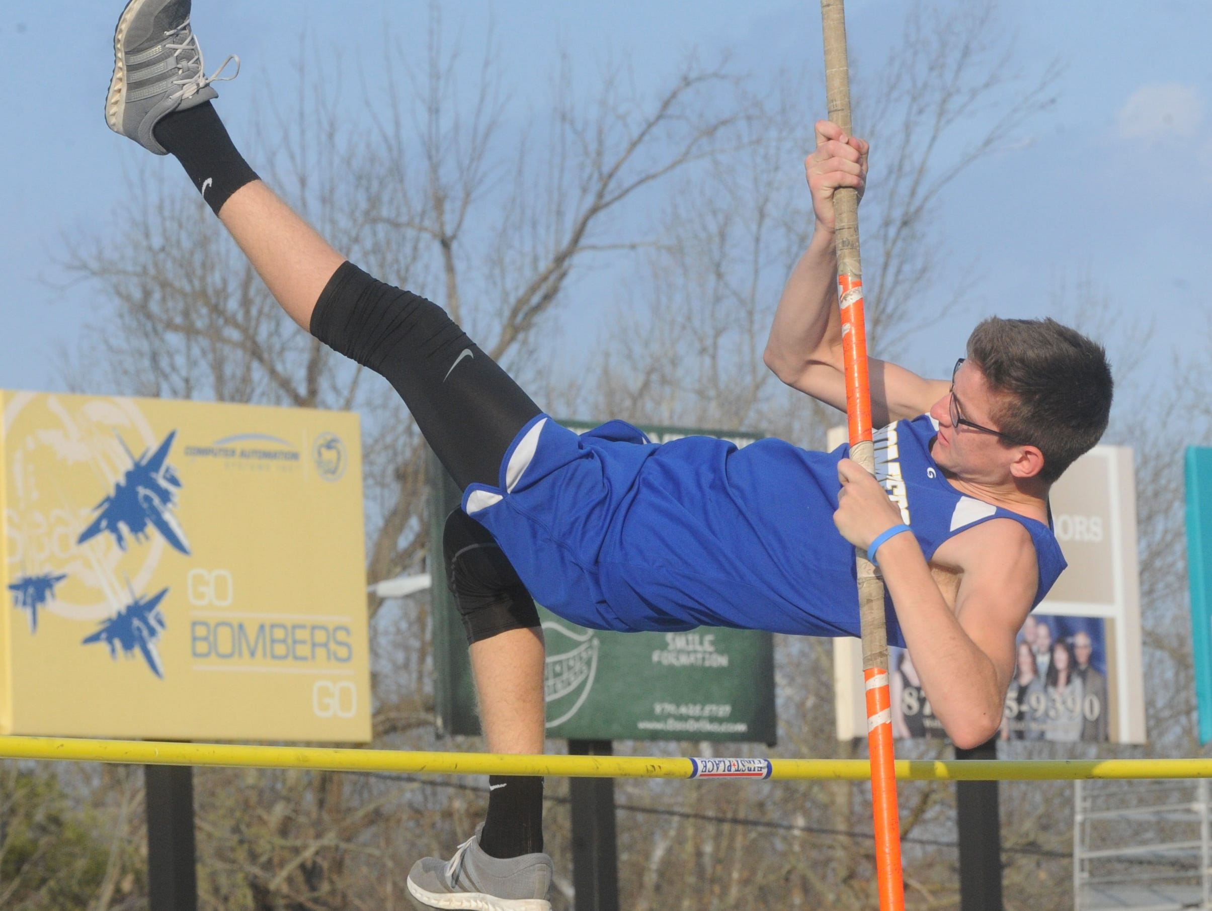 Mountain Home's Luke Foreman competes in the pole vault at the recent Junior Bomber Relays. Mountain Home traveled to Green Forest for the Anstaff Bank Junior Relays on Friday night.