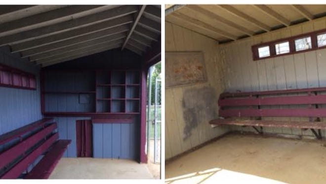 Interior of the South River dugouts Nick Razzano refurbished through his Eagle Scout project