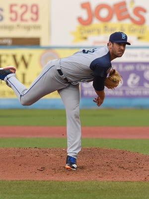 Matt Harvey of the New York Mets pitches for the Brooklyn Cyclones during Saturday's game against the Hudson Valley Renegades at Dutchess Stadium in Fishkill.