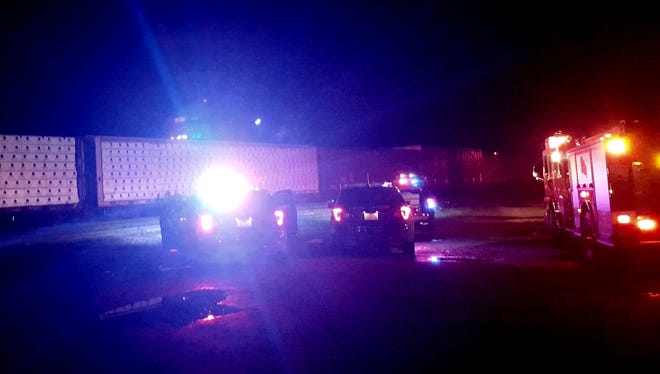 Authorities investigate the death of an unidentified man who was struck and killed by a train in downtown Redding on Thursday night.