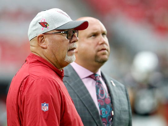 Bruce Arians (left) has led the Arizona Cardinals with general manager and fellow York countian Steve Keim the past five years. They parted ways Monday when Arians, 65, announced his retirement after four decades in the business.
