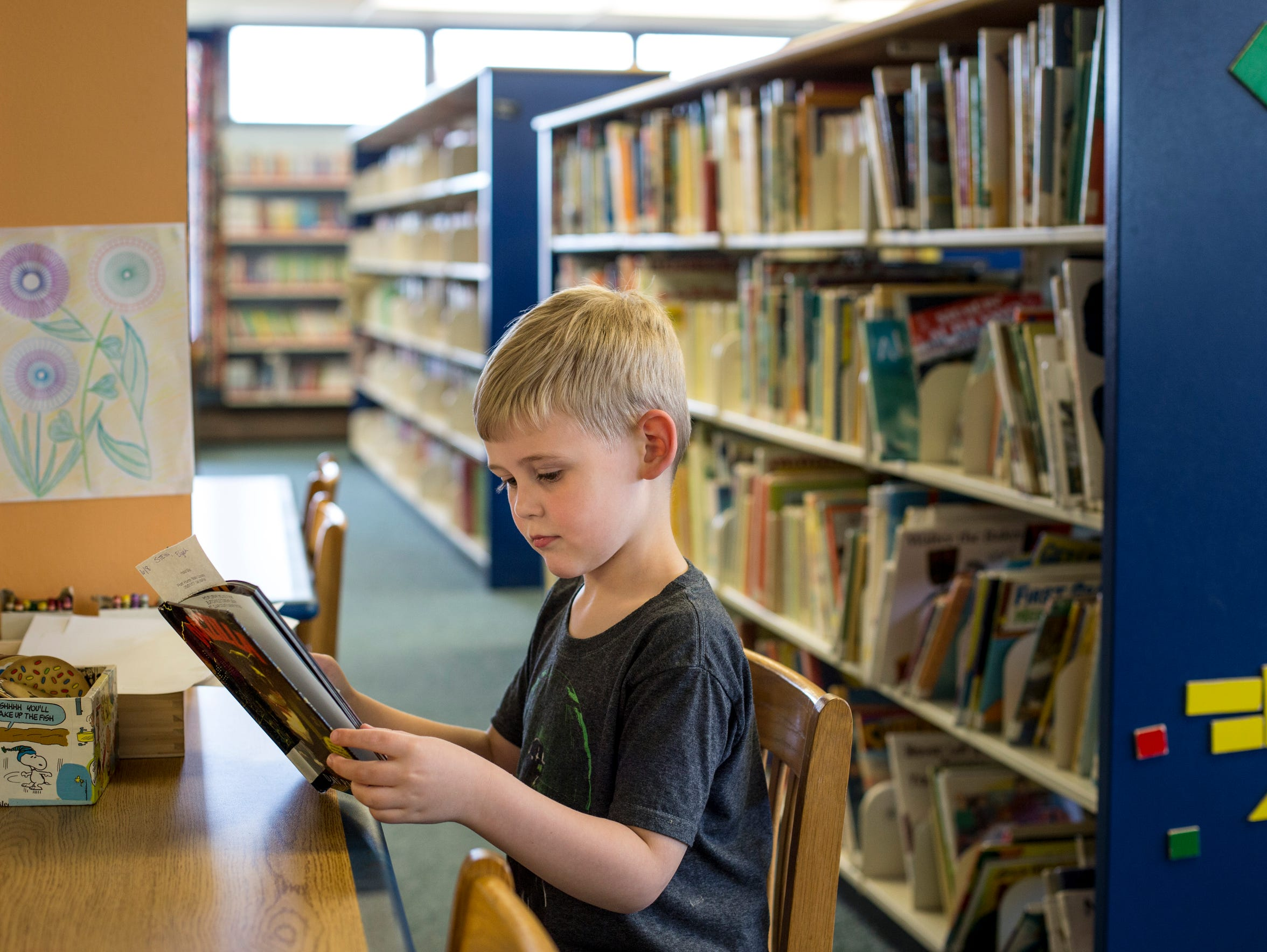 Eli Stein, 6, reads a book while visiting the library
