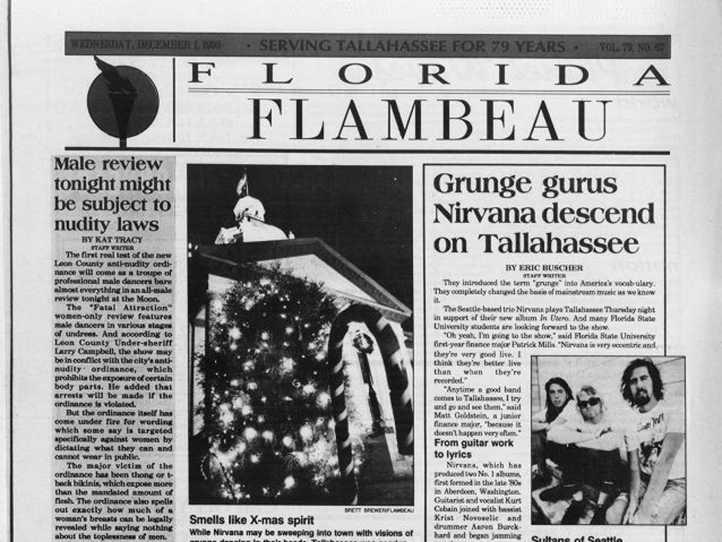 A 1993 Florida Flambeau showing Nirvana's trip to Tallahassee.