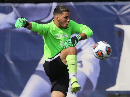 Drew sophomore goalkeeper Jason Adamo, a Roxbury alumnus,