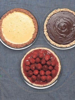 Clockwise from far left: Key lime pie, chocolate pie and strawberry pie.