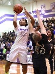 Jamirah Shutes goes up for a jumper during Haywood's 73-70 win over Dyersburg in the Class AA sectionals on March 3, 2018.