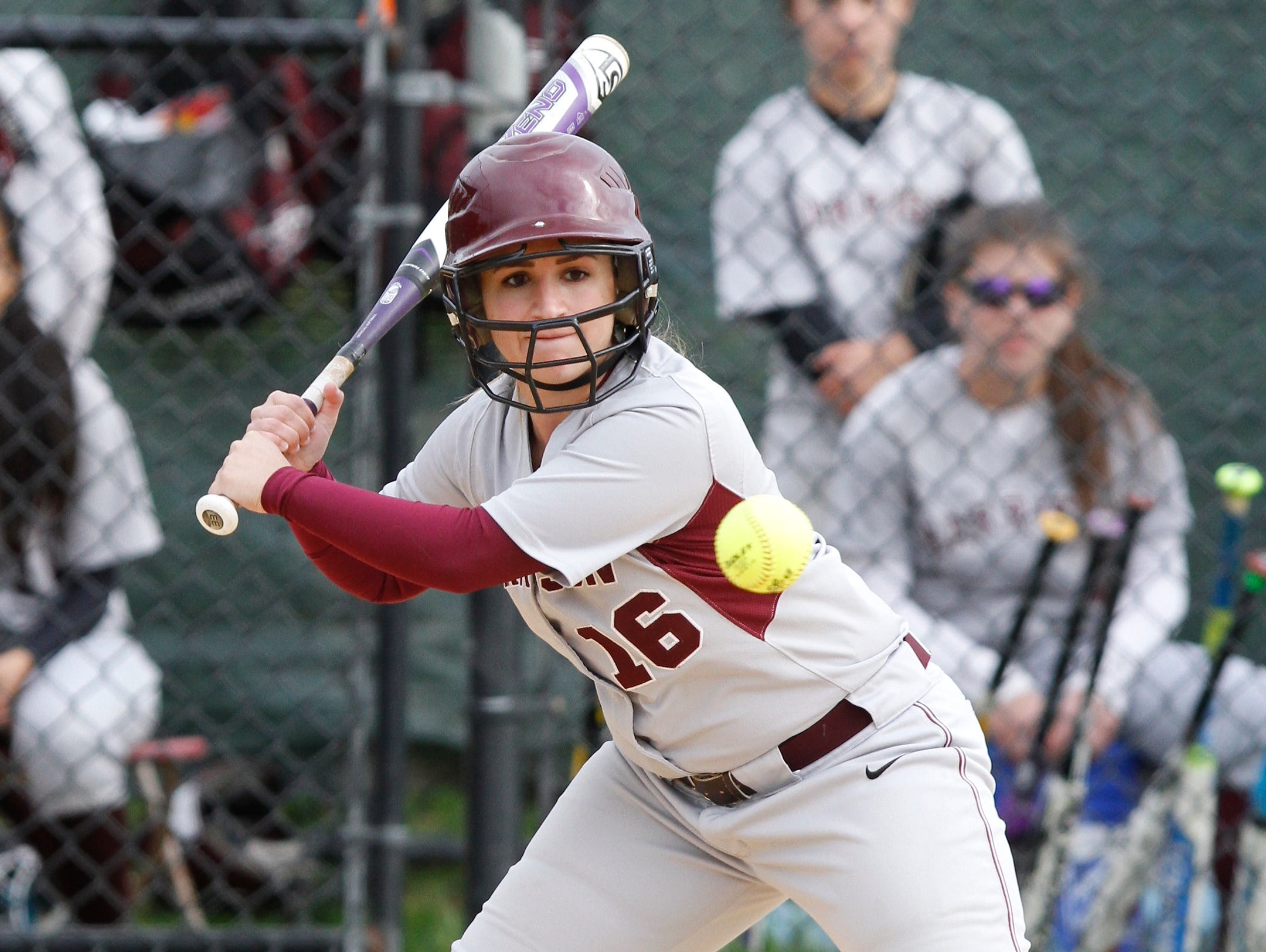 Harrison tops Eastchester 8 - 5 in a varsity softball game at Harrison High School on Thursday, April 28, 2016.