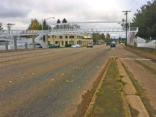 Drawing shows one option for a pedestrian overpass