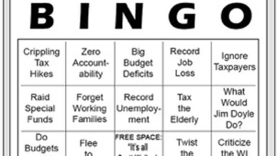 Bingo card aimed at making fun of Wisconsin Democrats,