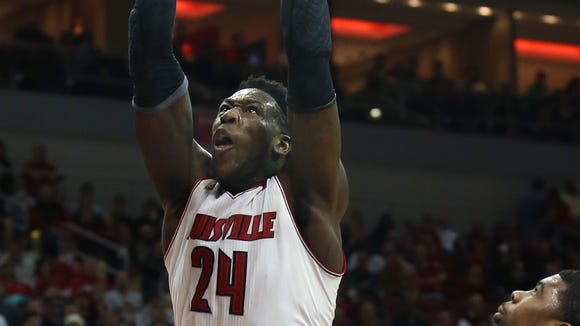 Louisville's Montrezl Harrell with yet another dunk against Temple.   Feb. 27, 2014