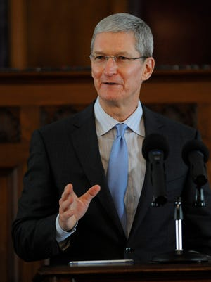 Apple CEO Tim Cook speaks during the induction ceremony for the Alabama Academy of Honor at the state capitol building in Montgomery, Ala. on Monday October 27  2014.