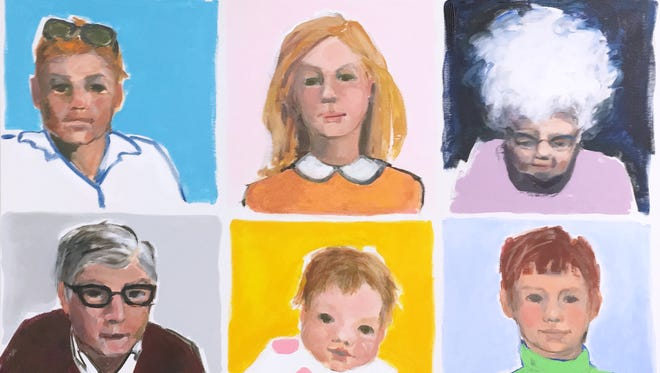"""Portrait compilation painting by Archelle """"Buttons"""" Wolst, which is featured on the cover of the report, """"Growing Older in Door County,"""" by the Door County Community Foundation."""