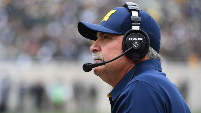 Michigan defensive coordinator Don Brown looks on against Michigan State on Oct. 29, 2016.