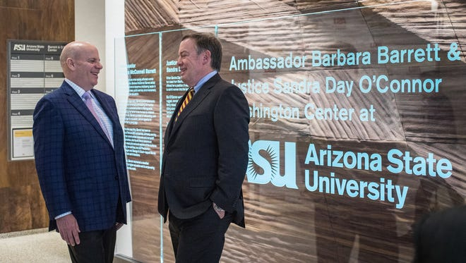 Jay O'Connor, son of former Supreme Court Justice Sandra Day O'Connor, visits with ASU President Michael Crow in the lobby of the new Barrett & O'Connor Washington Center on March 14, 2018, in Washington, D.C.