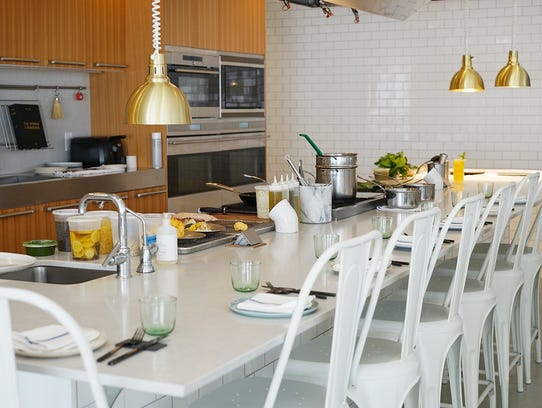 The kitchen and communal table at Heirloom Kitchen