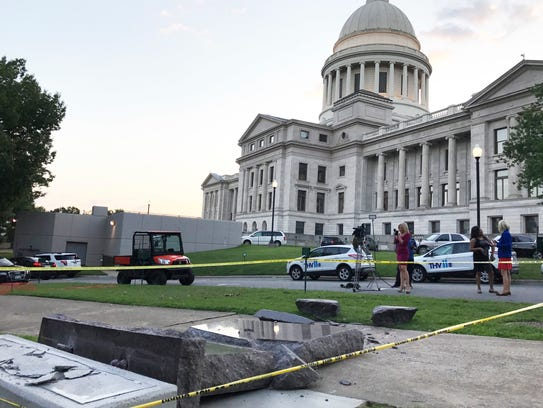 The new Ten Commandments monument outside the state