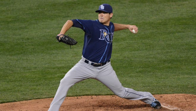 Tampa Bay Rays starting pitcher Matt Moore delivers a pitch in the third inning against the Kansas City Royals at Kauffman Stadium.