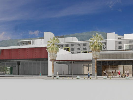 An architect's rendering of the new buildings currently under construction on Palm Canyon Drive in Palm Springs. The space at right side of the image, with umbrellas near the front door, will house a Tommy Bahama restaurant. The building on the left side will house a new Starbucks coffee shop.