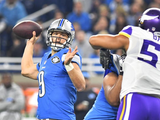 Lions quarterback Matthew Stafford's accuracy has improved