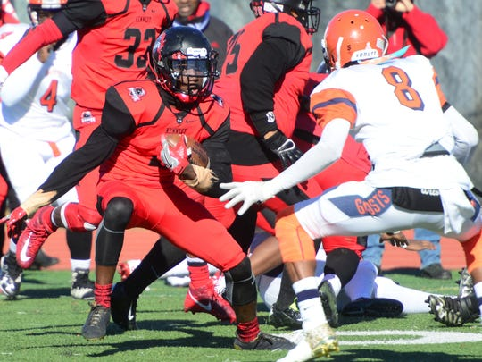 Calvin Clyburn, of Kennedy, makes a run during the annual Thanksgiving Day high school football game between Kennedy and Eastside in Paterson.