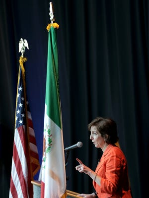 U.S. Ambassador to Mexico Roberta Jacobson delivers her opening remarks Thursday before taking part in a panel discussion with Mexican Ambassador to the U.S. Carlos Sada. The panel was moderated by U.S. Rep. Beto O'Rourke, D-El Paso, during the 2016 U.S.-Mexico Border Summit at the Judson F. Williams Convention Center.