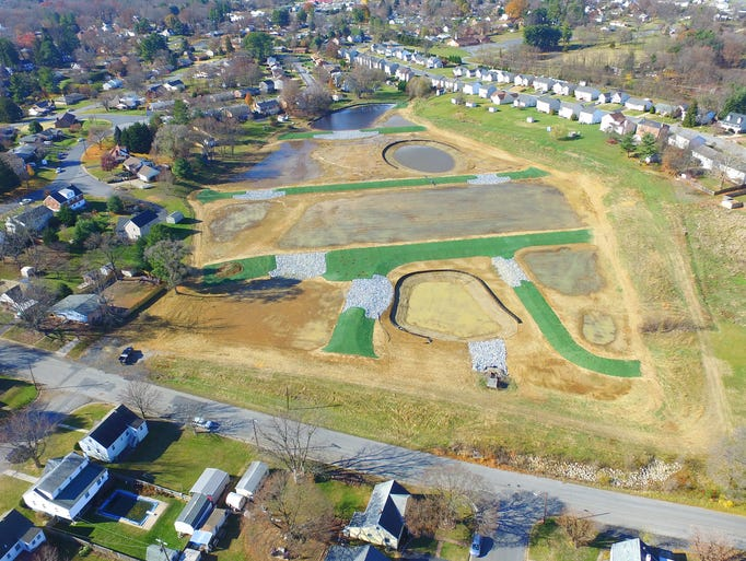 A drone photograph shows the Jefferson Park constructed