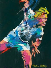 This painting of profession tennis player Stefan Edberg shows the brilliantly colored, stunningly energetic images LeRoy Neiman was known to create.
