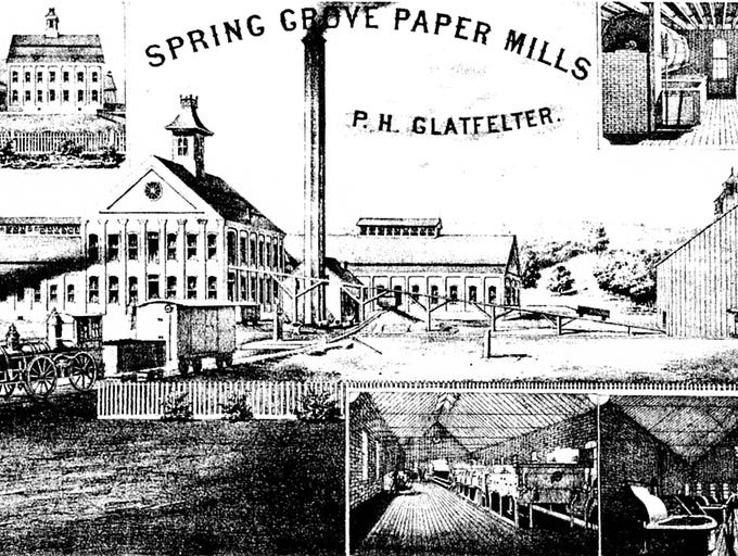 Glatfelter mill site is seen in its early years. The