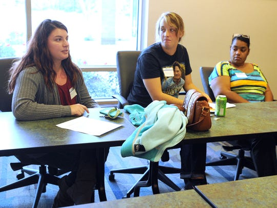 Pleasant High School senior Samantha Foster, left, participates in a student panel on the Credit When It Is Due program. Foster will receive an associate in arts degree from Marion Technical College before she will receive her high school diploma.