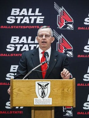 Ball State's new athletic director, Mark Sandy, talks to media during a press conference at Worthen Arena Thursday morning.