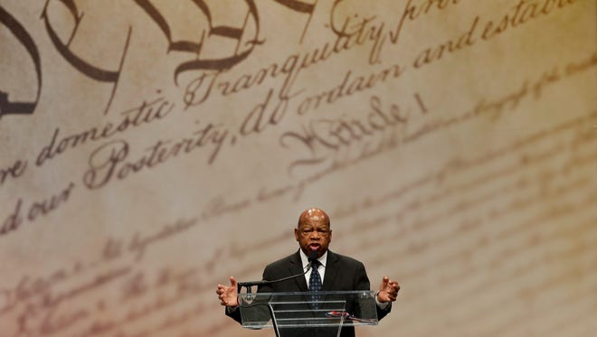 Rep. John Lewis speaks after being presented with the Liberty Medal for his dedication to civil rights during a ceremony at the National Constitution Center, Sept. 19, 2016, in Philadelphia. The honor is given annually to an individual who displays courage and conviction while striving to secure liberty for people worldwide.