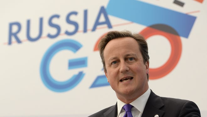 British Prime Minister David Cameron speaks at a press briefing at the end of the G20 Leaders' Summit on September 6, 2013, in St. Petersburg, Russia.