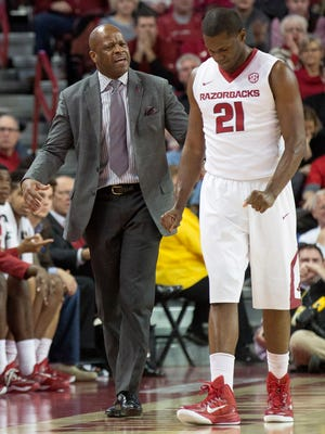An interesting fact in the coaching rivalry between Arkansas' Mike Anderson, pictured, and South Carolina's Frank Martin is neither has won on the other's home court.
