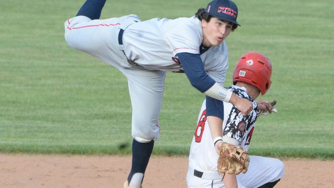 Nashua Silver Knights Brady Day on breaks up the double play on Brockton Rox shortstop Jake Gelof, on Tuesday, July  7, 2020 at Campanelli Stadium, where fans were not allowed due to the Covid-19 pandemic.