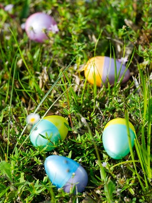 An assortment of Easter Eggs on the grass during the 22nd Annual Royal Scoop Easter Egg Hunt and Games in 2016.