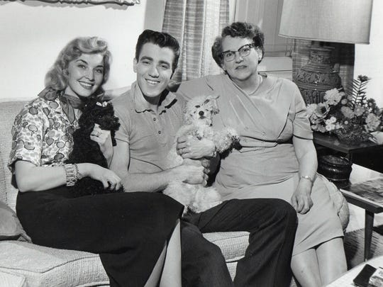 1959 NBC-TV photo of the short-lived Jimmie Rodgers Show with his first wife Colleen and mother.
