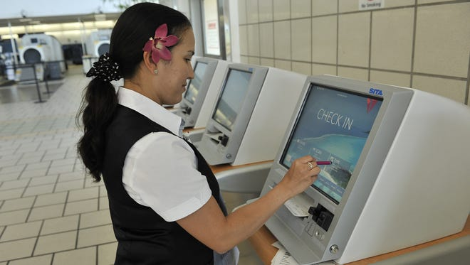 The Delta self check in counter at the A.B. Won Pat Guam International Airport, photographed in 2013.