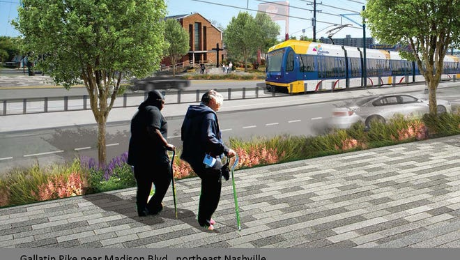 What the same area could look like with street and sidewalk improvements and light rail.